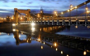 night, lights, bridge, the city, poland, wroclaw, grunwaldzki bridge