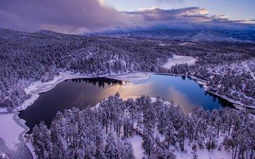 небо, облака, деревья, озеро, снег, природа, лес, зима, пейзаж