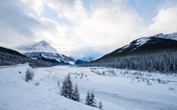 небо, облака, деревья, горы, снег, природа, зима, пейзаж