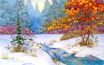 art, forest, winter, landscape, stream, painting