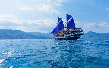 небо, облака, море, корабль, парусник, паруса