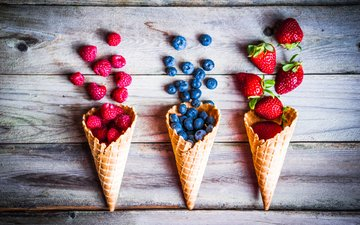 raspberry, strawberry, berries, blueberries, waffles, wooden surface
