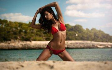 девушка, поза, песок, пляж, брюнетка, модель, бикини, martin rößler, tamara freiler