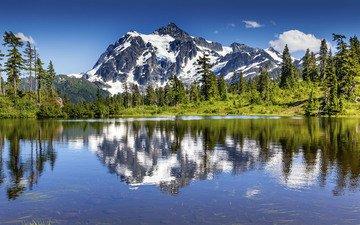 озеро, горы, природа, лес, отражение, пейзаж, william perry, гора шуксан, озероотражение