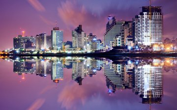 night, lights, reflection, the city, israel, sean pavone, tel aviv