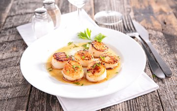 appetizer, seafood, scallops