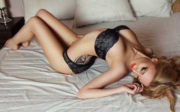 girl, blonde, model, legs, tattoo, body, long hair, black lingerie, closed eyes, in bed, nina vorman