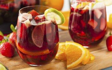 напиток, фрукты, клубника, лимон, ягоды, апельсин, вино, лайм, brent hofacker, сангрия
