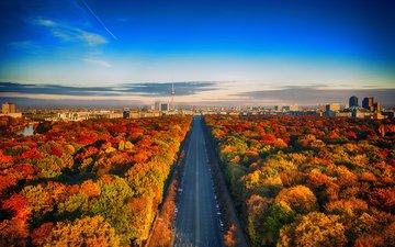 небо, дорога, деревья, горизонт, город, осень, германия, берлин