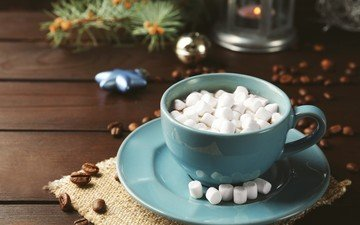 drink, coffee, cup, chocolate, coffee beans, marshmallows, cocoa, hot chocolate, marshmallow