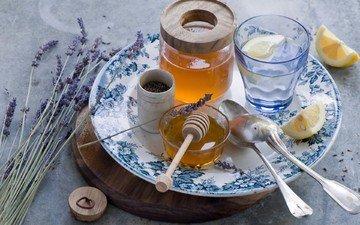 цветы, лаванда, лимон, стакан, мед, тарелка, банка, ложки