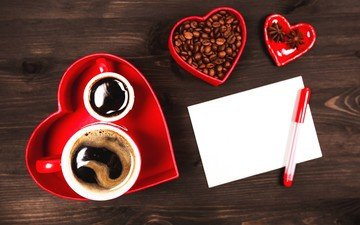 coffee, note, coffee beans, cup, valentine's day, 14 feb, star anise