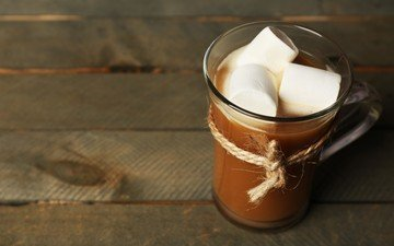 drink, coffee, chocolate, marshmallows, marshmallow, wooden surface