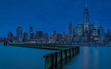 night, the city, usa, new york, manhattan