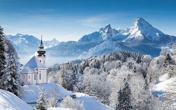 горы, природа, лес, зима, пейзаж, церковь, часовня, альпы