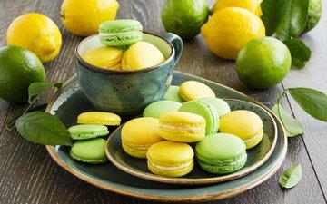 лайм, печенье, выпечка, лимоны, цитрусы, макаруны, лаймы