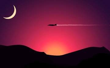 mountains, the plane, vector, the moon, graphics, minimalism