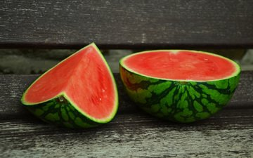 berry, watermelon, wooden surface, melons