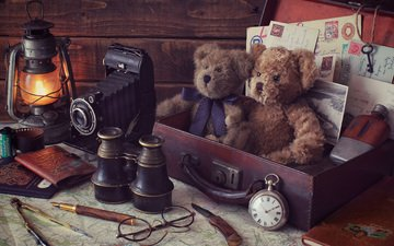 handle, vintage, retro, glasses, bears, watch, the camera, lantern, toys, suitcase, binoculars, marcus rodriguez