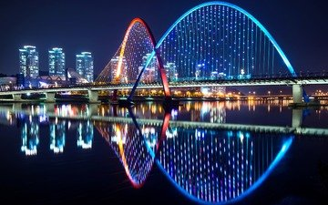 night, lights, water, river, reflection, bridge, the city, home, south korea, daejeon