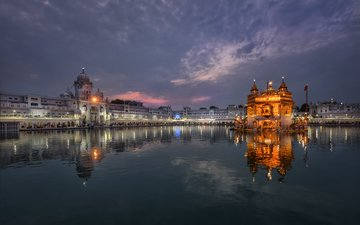 the sky, night, lights, lake, temple, reflection, the city, india, the urban landscape, amritsar, golden temple, kris bednarzewski