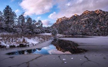 небо, облака, деревья, озеро, горы, природа, зима, пейзаж, michael wilson