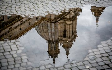 reflection, cathedral, italy, rome, puddle