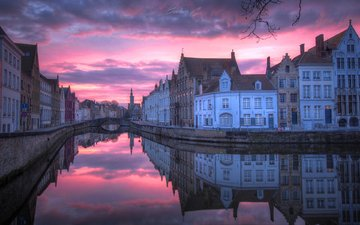 night, the city, channel, belgium, bruges