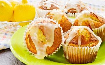 выпечка, десерт, лимоны, кексы