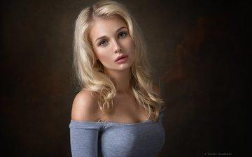 девушка, фон, блондинка, портрет, взгляд, волосы, лицо, денис дрожжин