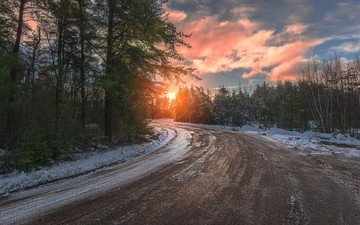 road, nature, forest, sunset, winter, landscape