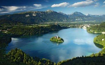 озеро, природа, пейзаж, остров, часовня, бледское озеро