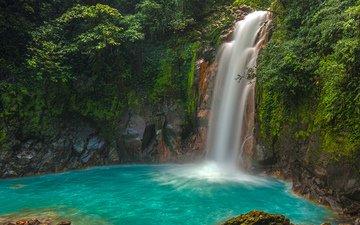 река, скалы, природа, водопад, заросли