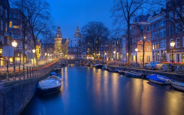 the city, channel, europe, netherlands, amsterdam