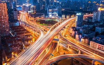 night, lights, the city, road, interchange