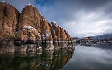 озеро, скалы, природа, зима, отражение, пейзаж, michael wilson