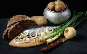bow, bread, black background, fish, herring, potatoes