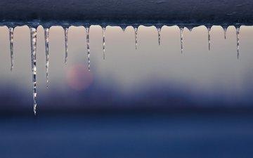 макро, лёд, сосульки