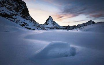 mountains, snow, nature, winter