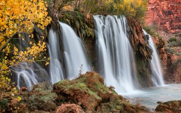 river, rocks, nature, leaves, branches, waterfall, autumn, michael wilson