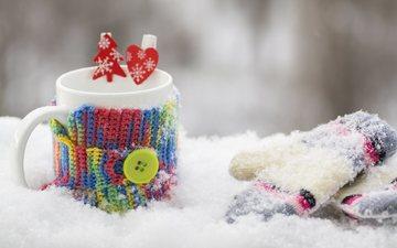 снег, зима, кофе, кружка, чай, варежки