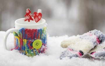 snow, winter, coffee, mug, tea, mittens