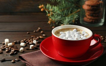 drink, coffee, cup, coffee beans, marshmallows, cocoa, hot chocolate, marshmallow