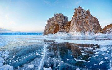 lake, rocks, winter, landscape, ice, russia, baikal