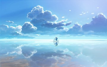 небо, облака, вода, отражение, вектор, графика, велосипедист
