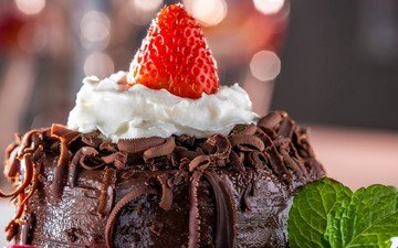 мята, ягода, клубника, шоколад, десерт, пирожное, крем