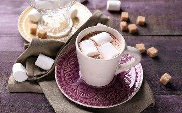 напиток, кофе, кружка, блюдце, сахар, зефир, какао, горячий шоколад, маршмэллоу