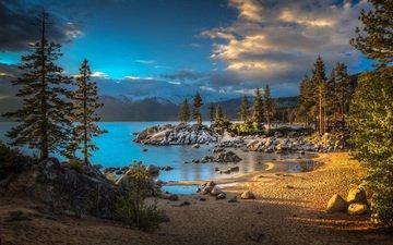 озеро, природа, лес, пейзаж, песок, гавань, roy o brien