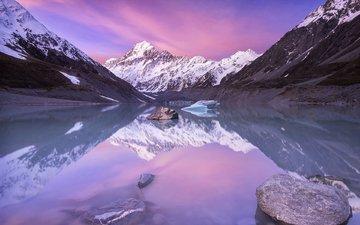 озеро, горы, природа, зима, пейзаж