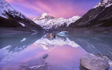 lake, mountains, nature, winter, landscape